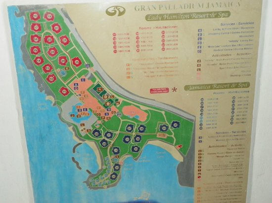 Grand Palladium Lady Hamilton Resort & Spa : Carte du site.Lady Hamilton et Jamaica.