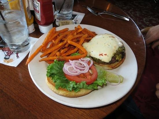 Diamond Belle Saloon : Burger with green chilies and monterey jack cheese and sweet potato fries
