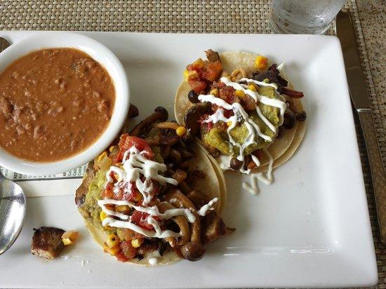Cactus: Hamakua Mushroom Tacos and Fresh Pinto Beans.