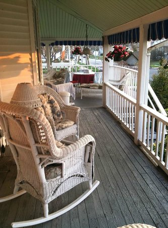 The Inn At The Shore: side porch in the morning sun