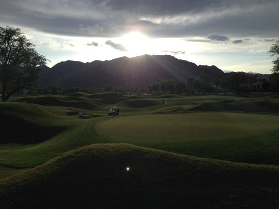 PGA West TPC Stadium Golf Course: Looking Back on #15 With A Beautiful Sunset Over The Santa Rosa Mountains!