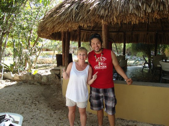 Cenote Chikin Ha : snack shack area with staff member, Sebastian