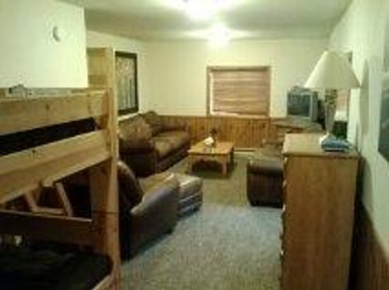Discovery Lodge: This is the view of the lower level living/bunk room