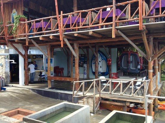Blue Angel Resort: Dive Shop/ Upstairs Restaurant