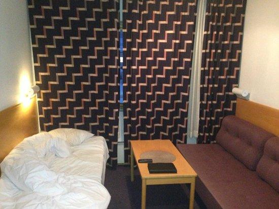 Glomfjord Hotel: Gardinene rett fram