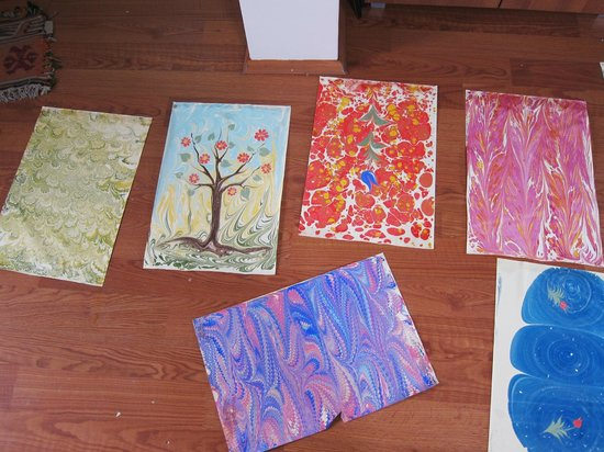 Turkish Marbling - Ebru Classes: Some finished products