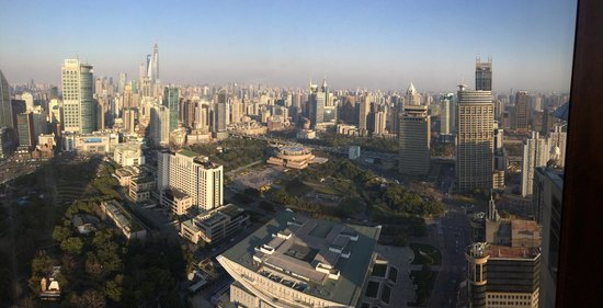 JW Marriott Hotel Shanghai at Tomorrow Square: View of people square from JW lounge