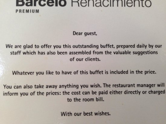 Barceló Sevilla Renacimiento: Don't think about taking sandwiches from the buffet!!!!!!