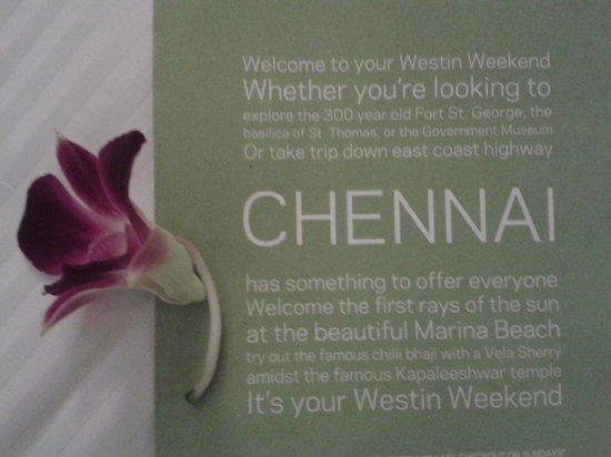 The Westin Chennai Velachery: Wecome to Chennai