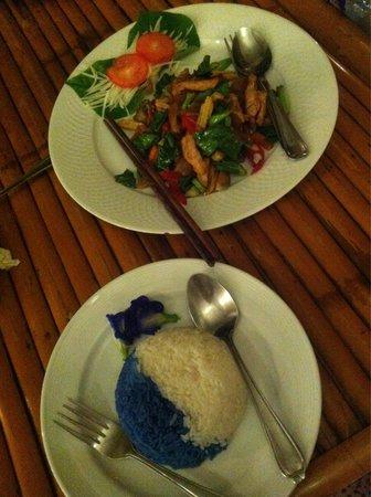 Blue Rice Restaurant by Apple & Noi: Stir-fry and blue&jasmine rice