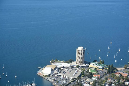 Wrest Point: The view of the Hotel from our Tasmanian Air Adventures Sea Plane