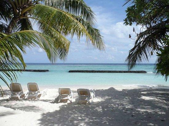 Kuramathi Island Resort: Deluxe Beach Villa to Sea view (minus my feet!)