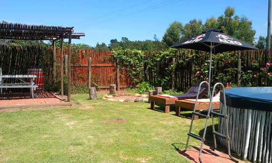 Protea Wilds Retreat: Protea Cottage garden - splashpool and bbq