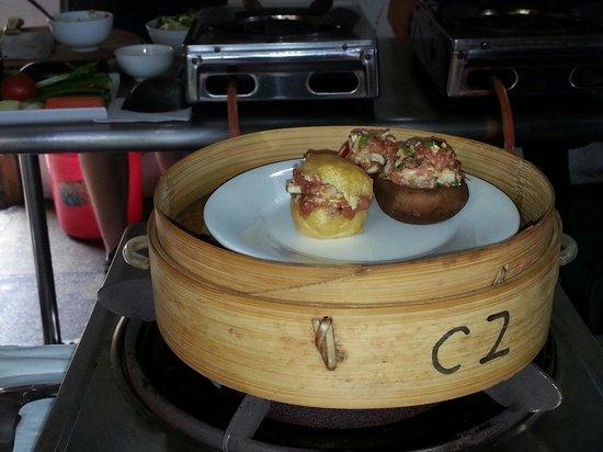 Yangshuo Cooking School: Stuffed pork into tomato, mushroom, and tofu