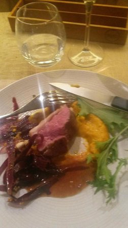 Miles : lamb two ways on carrot puree with  purple carrot on the side and a wonderful sauce