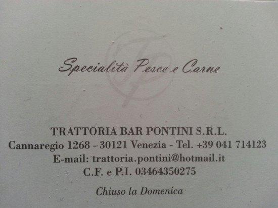 Photo of Italian Restaurant Pontini at Centro Storico Fondamenta De Cannaregio No. 1268, Venice 30121, Italy