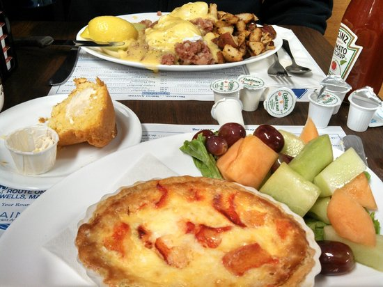 Maine Diner: Corned beef hash eggs benedict and lobster quiche with fruit.