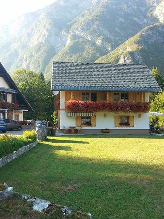 Alpik Apartments at Lake Bohinj: ogni casetta ha 4 alloggi, noi eravamo al piano terra sulla sinistra