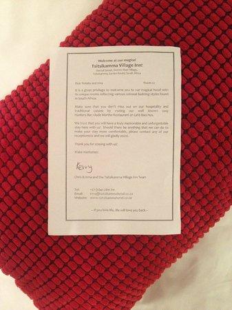 Tsitsikamma Village Inn: Персональное письмо для номера/гостя
