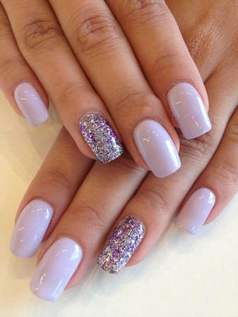Mirror Salon Spa Gorgeous Lilac And Sparkle Gel Nails