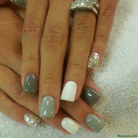 Mirror Mirror Salon & Spa: Grey, Green, White and Sparkle Gel Nails