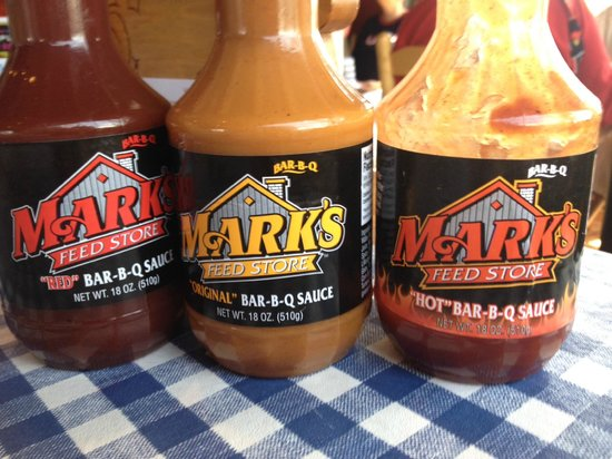 Mark's Feed Store: BBQ Sauces, Red, Original and Hot.