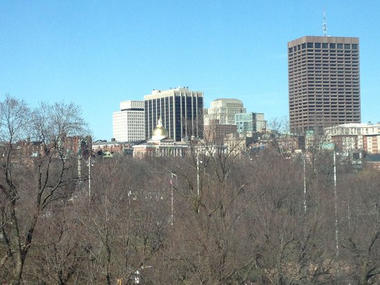 Four Seasons Hotel Boston: View of state building and buildings to right out of window. Park was straight out room 725