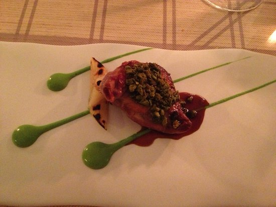 Maison Manesse : Pigeon with Jelly, caramelized bacon roasted pistachios, camu camu berries, Tasmanian pepper