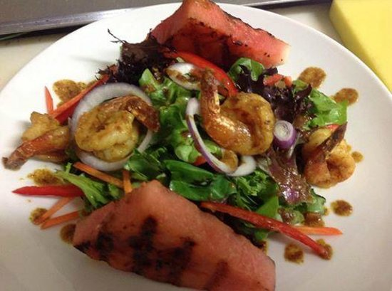 D Coalpot BVI Restaurant Bar & Grill: Grilled Watermelon and Curried Shrimp over a bed of Baby Lettuce