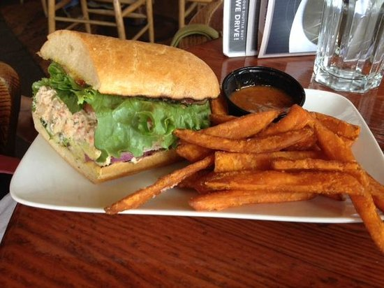 Flying Beaver Bar & Grill: Seafood salad sandwich with yam fries (this is half the order - Mom and Dad shared)