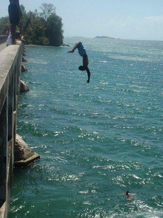 Grand Bahia Principe Cayacoa : Locals jumping off the Bridge to Nowhere