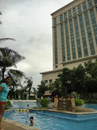 Radisson Blu Cebu: a view of the hotel bldng from the pool