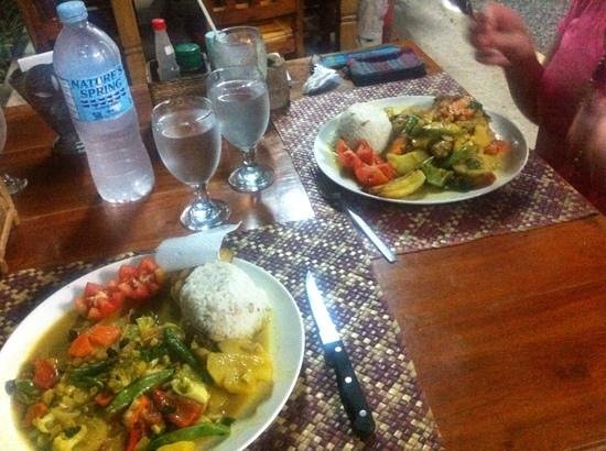Sea Turtle House Moalboal : Veggie curry for me, chicken curry for mum