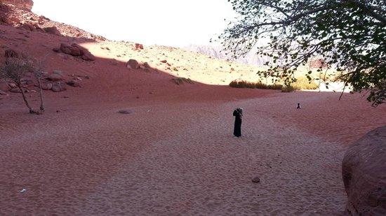 Jebel Khazali: Kanyon çıkışı kumlarda kızılın farlı tonları