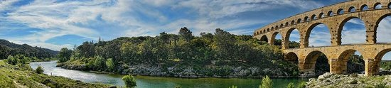 Panoramic view of the Pont Du Gard spanning the Rhone River