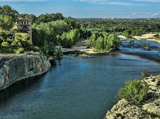 A view from the center of the Pont du Gard over the Rhone River
