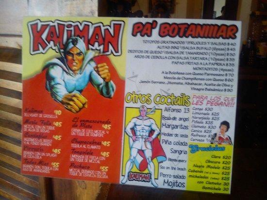 Victoria Hotel: esta es la carta del bar KALIMAN que se encuentra en HOTEL VICTORIA