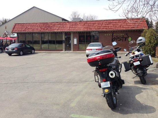 The scoots parked out front of West Plains Bistro