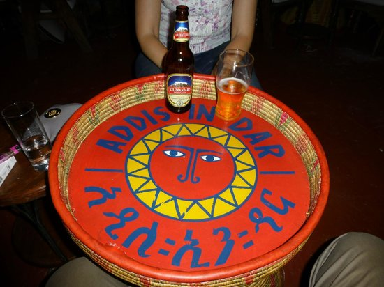 Funky tables at Addis in Dar