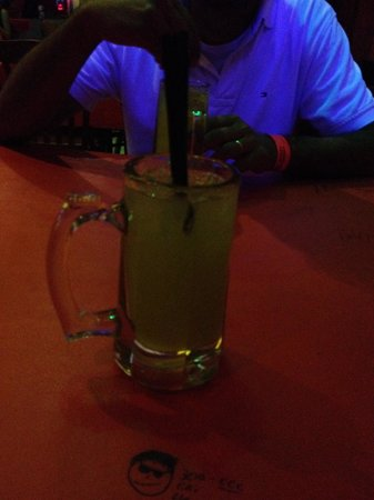 Señor Frog's: Mug sized mixed drink, I think 10 oz, about $6... Try the Big Frogs drink!