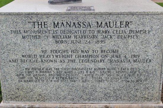Jack Dempsey Museum: Inscription on statue's base