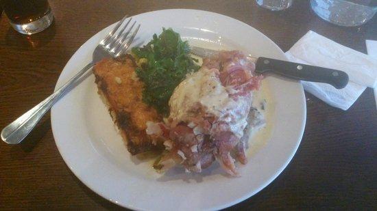 Market Lane : Slow cooked West Cork ham hock with leek and potato gratin, turnip greens & a dijon & parsley sa