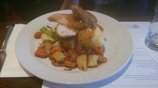 Market Lane : Roast marinated chicken breast with herb mash, buttered vegetables and gravy