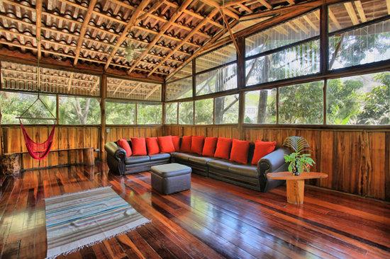 The upstairs lounge area at The Jungle House villa in Santa Teresa, Costa Rica.