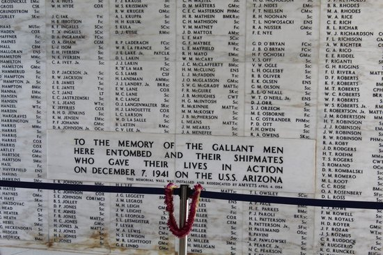 USS Arizona Memorial/World War II Valor in the Pacific National Monument: Memorial Wall