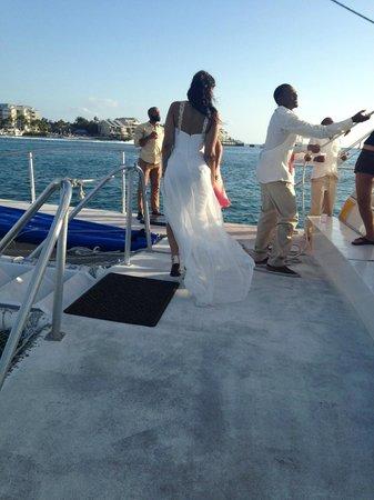 Sebago Key West: Enjoying the views, groomsmen setting sail in the background!