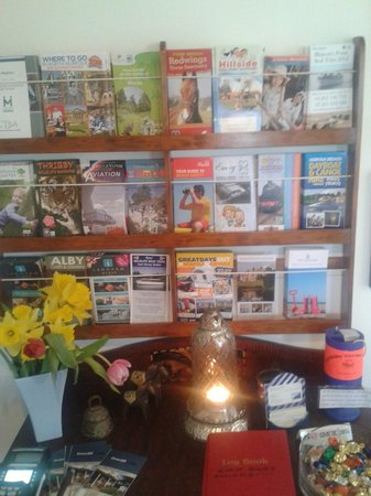 Overcliff Lodge: local attraction leaflets in the entrance downstairs