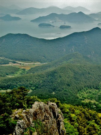 Gyeongsangnam-do, Zuid-Korea: Scenic view of the islands