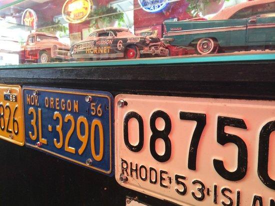 M G's Restaurant: car memorabilia