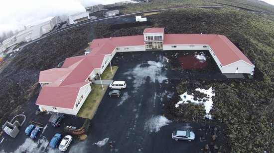 Northern Light Inn: Picture taken by my drone, the hotel with power station and blue lagoon in the background